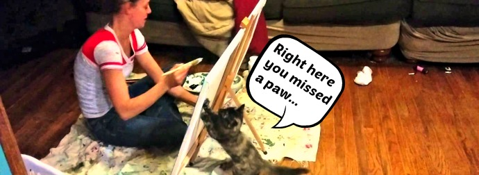 Kitten vs Artist - Kitten Paws At Back Of Canvas To While Artist Paints. The Result? Just Genius!